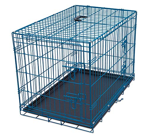 Internet's Best Wire Dog Kennel - Medium (36 Inches) - Double Door Metal Steel Crates - Indoor Outdoor Pet Home - Folding and Collapsible Cage - Blue