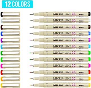 [12 Colors] 0.5 mm Micro-Pen Fineliner Pen Set Ink Pens, Super Fine Point Liner Pen,Multi-Liner, Sketching, Anime,Artist Illustrating Drawing,Technical Drawing,Office Documents