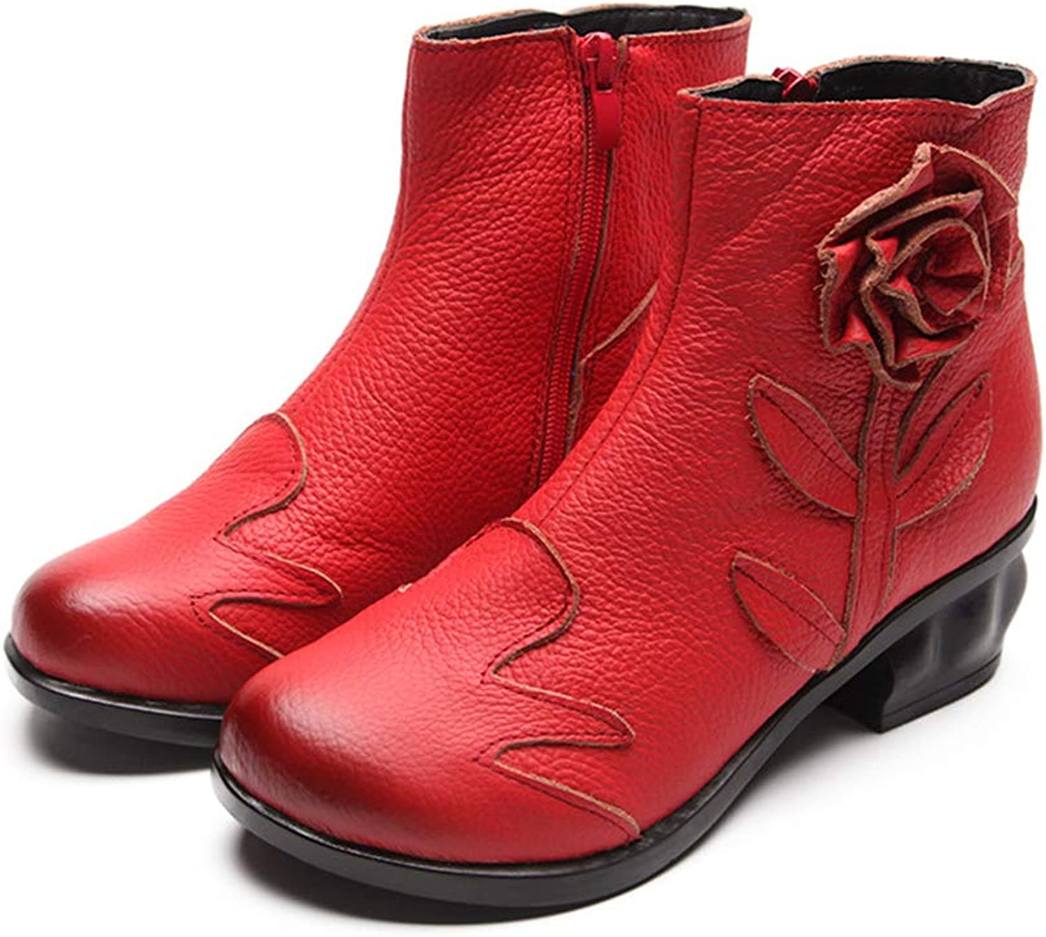 A-LING Women's Retro Genuine Leather Side Zipper Martin Boot Round Head Flower Ankle shoes