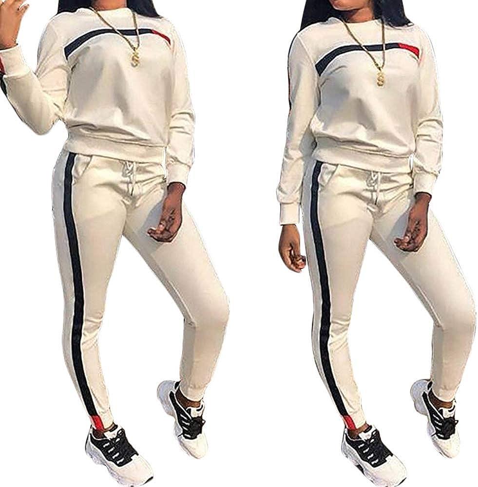 Womens 2 PCS Tracksuit Round Neck Long Sleeve Top Stripe Long Pants Jumpsuit Outfits Set for Sport