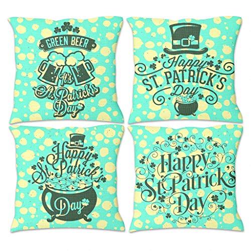 DOGCATPIG Happy St Patrick's Day - Juego de 4 fundas de almohada cuadradas con cremallera oculta para decoración del hogar, sofá, dormitorio, coche, estilo Sunshine blanco, 45 x 45 cm