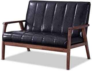 Baxton Furniture Studios Nikko Mid-Century Modern Scandinavian Style Faux Leather Wooden 2 Seater Loveseat, Black