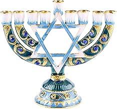 Fenteer Menorah Candle Holder Handpainted Judaica Candelabra Geometric Style Home Classic Decor Centerpieces - A