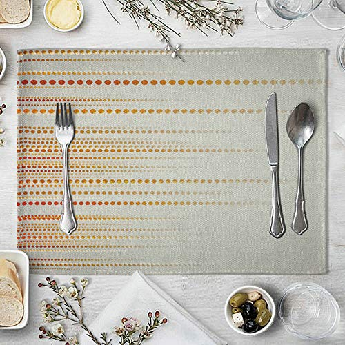 KnBoB Thick Clear Placemats, Gray Yellow Holiday Placemats, Placemats for Dining Table Set of 6 Heat Resistant Machinr Washable, Placemats Square Natural