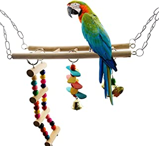 Sanwooden Funny Parrot Toy Pet Bird Parrot Colorful Wood Swing Climbing Ladder Bells Hanging Toy Cage Decor Pet Supplies