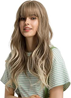 """Esmee 24""""Women Synthetic Wigs Long Wavy Blond with Fluffy Air Bangs Light"""