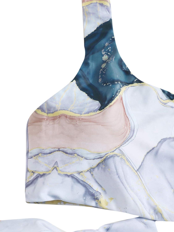 SheIn Women's Sexy 2 Pieces One Shoulder Tie Waist Bikini Swimwear Set