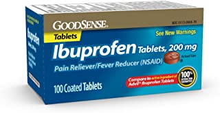 GoodSense Ibuprofen Tablets, 200 mg, Pain Reliever and Fever Reducer, 100 Count, Temporarily Relieves Minor Aches and Pain...