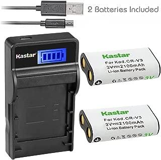Kastar Battery (X2) & SLIM LCD Charger forr CR-V3 LB-01 and Olympus C3000 D565 D-100 D-150 D-230 D-370 D-380 D-390 D-40 D-460 D-490 D-520Z D-560Z, Kodark EasyShare C310 C530 C875 + More Camera