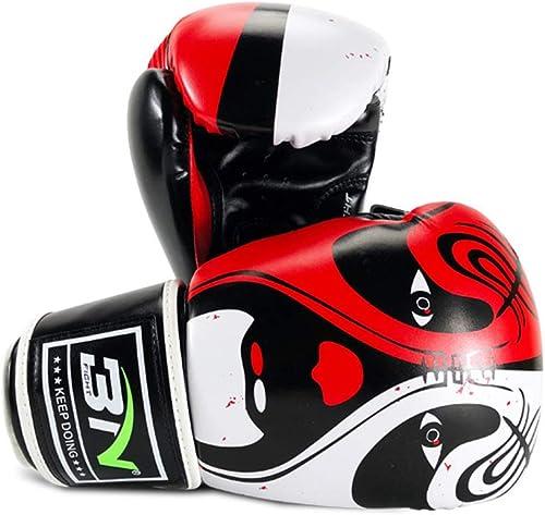 voitureWORD 10 12Oz Haute Qualité Adultes Femmes Hommes Gants De Boxe en Cuir Beijing Opera Style Sable MMA Muay Thai Boxe Mitaines Sanda