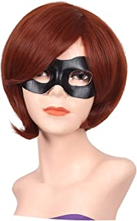 FantaLook Short Reddish Brown Costume Cosplay Wig with Eye Mask for Female