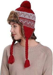 Elogoog Women Knit Hat, Thick Winter Warm Ski Wool Peruvian Beanie Cap with Ear Flaps