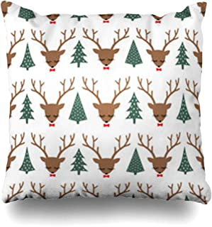 AlliuCoo Throw Pillows Covers Horny Reindeer Cute Sleeping Deers Bows Xmas Trees Head Pattern Holidays Moose Sweater Wildlife Home Decor Zippered Cushion Case Square Size 20