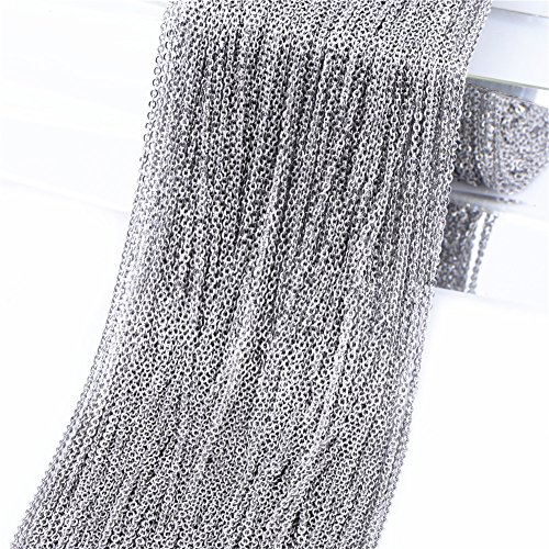 10m Stainless Steel Cable Chain Link in Bulk for Necklace Jewelry Accessories DIY Making 1.5mm