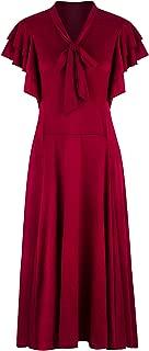 Women's Vintage 1920s V Neck Long Bias Cut Sleeveless with Flutter Sleeves Bowknot Flapper Dress