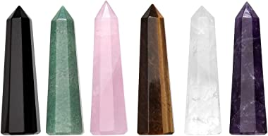 CrystalTears 6pcs Chakra Healing Crystal Points Wands Set Natural Amethyst Rose Quartz Crystal Points Polished Tumbled Stone for Home Decor Reiki Healing
