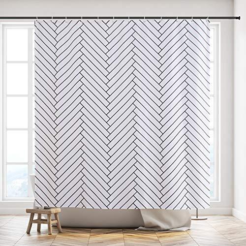 Furlinic Duschvorhang 180x180 Anti-schimmel Badezimmer Badvorhang für Badewanne Textil Gardinen aus Stoff Waschbar Wasserdicht Fischgräten Weiß mit 12 Duschringe.