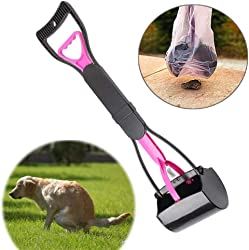 FXQIN Pooper Scooper, Pets Poop Scoop Set for Dogs and Cats, Long Handle Scoop/Heavy Duty Jaw Claw Bin, Perfect for Small, Medium, Large Pets