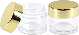 Beauticom 7 Gram / 7 ML Thick Wall Round Leak Proof Clear Acrylic Jars for Beauty, Cream, Cosmetics, Salves, Scrubs (480 Pieces Bottom Clear Base + 480 Pieces Lids, Metallic Gold)