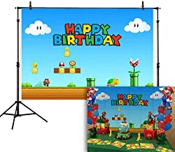 Allenjoy 7x5ft Birthday Video Game Backdrop Super Brother Adventure Photography Background Cartoon Mushroom Gold Coin Baby Shower Party Supplies Cake Table Decoration Poster Banner Photo Booth Props