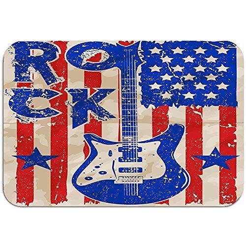 Ahdyr Alfombra Alfombra Alfombrilla de Puerta Póster de Rock Vintage Rock Roll Póster tipográfico de Rock Vintage Rock Roll Diseño tipográfico 60 * 40 cm (23,5x15,7 Pulgadas)