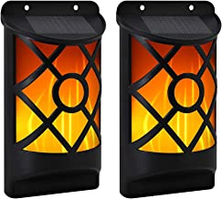Eoyizw Flame Solar Lights Outdoor, Waterproof Flickering Wall Lights with Dark Motion Sensor Auto On/Off 66 LED Solar Powered Night Lump Lattice Design for Porch Garden Pathway Patio Deck Yard 2Pack