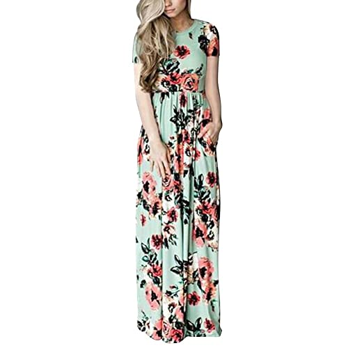 b9f4acfd6ef ORICSSON Ladies Sexy Maxi Dress Cold Shoulder Floral Short Sleeve Long  Dresses with Pockets for Women