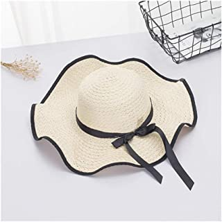 Hats Casual Wild Straw Hat Hat Female Seaside Summer Sunscreen Sun Hat Fashion (Color : Beige, Size : F)