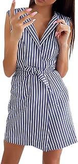 Women V-neck Sleeveless Mini Dress ❀ Ladies Summer Sexy Belt Tie up Work Office Striped Short Dress Casual Dress