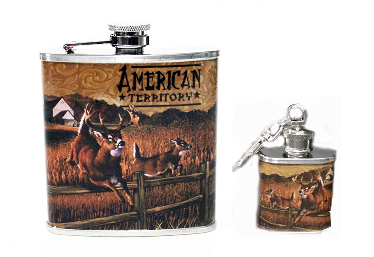 Deer Stainless Steel Hip Flask and Keychain 2pk Gift set - 6 oz flask and 1 oz mini flask keychain wrapped in Wildlife Artwork of Whitetail - Gift for Men Women Hunter Liquor Drinking