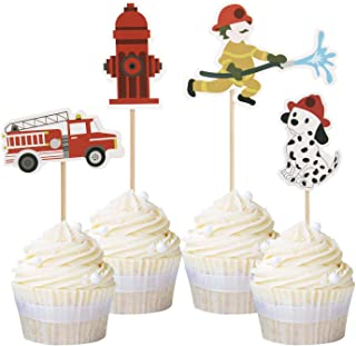 Newqueen 24 Pack Fireman Cupcake Toppers Fire Department Cake Topper Picks Baby Shower Birthday Party Decoration Supplies