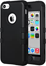 ULAK iPhone 5C Case, iPhone 5C Case Black, Shockproof Soft Silicone Rubber Hard Plastic Hybrid Heavy Duty Protection Kidproof High Impact Case Cover for Apple iPhone 5C -Black