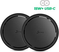 Seneo 2 Pack 15W Qi Wireless Charger with USB Type C Cable, 7.5W for iPhone 11,11 Pro Max,XR,XS Max,X,8, AirPods Pro, 10W for Galaxy Note 10/9 S10/S9, Google Pixel 3, 15W for LG V30 V40 G8(No Adapter)