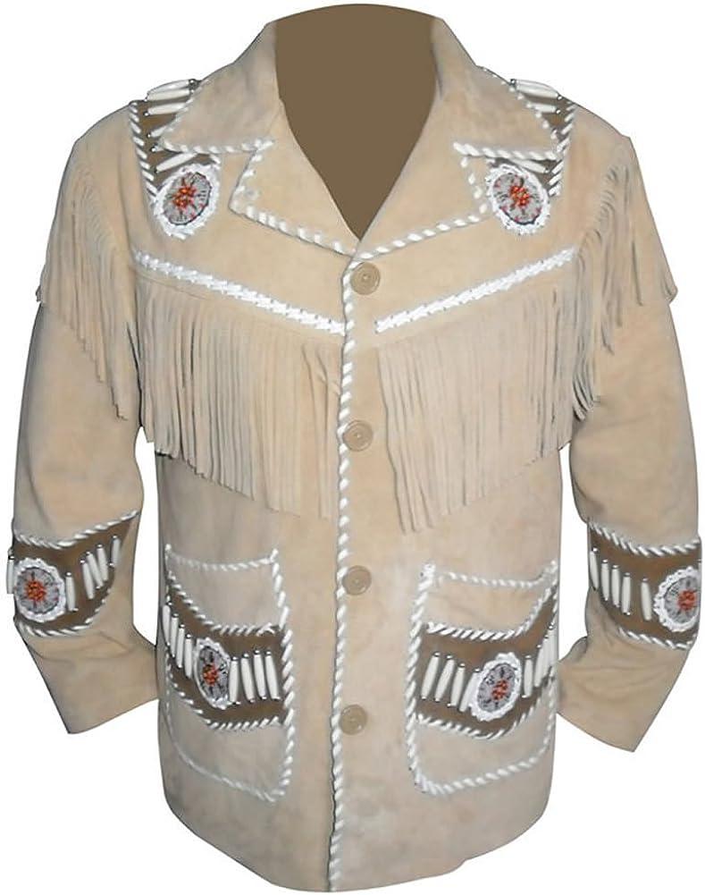 SRHides Men's Indian Cowboy Leather Coat Fringes, Beads & Bones