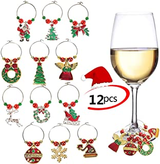 PHOGARY 12PCS Wine Glass Charms Rings Marker Christmas Party Bar Drink Tags Table Decorations