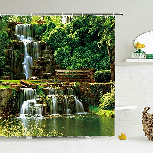 Deirdre Agnes 3D geprint douchegordijn groene plant boomlandschap badkamer gordijn met haak badkamer waterdicht 90 * 180cm