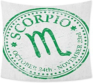 jecycleus Zodiac Scorpio Wall Blankets for Bedroom Retro Zodiac Rubber Stamp Design with Grunge Look Stars and Dates Cute Tapestry Wall Hanging Art W91 x L60 Inch Fern Green and White