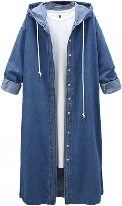 Misaky Jacket Plus Size Windbreaker Casual Womens Long Sleeve Denim Oversize Lady Jacket Coat