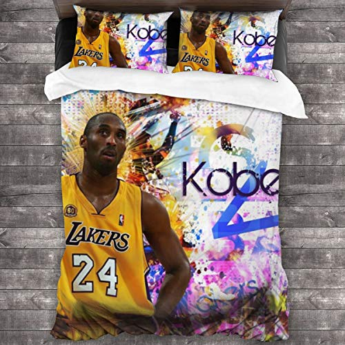 Sadie Mae Kobe-Bryant Cover Set 3D Design Bedding Set Kids Teenagers and Adults Bed Set Best Gift for Basketball Fans Cover Set 2 Pillowcases 86x70 in