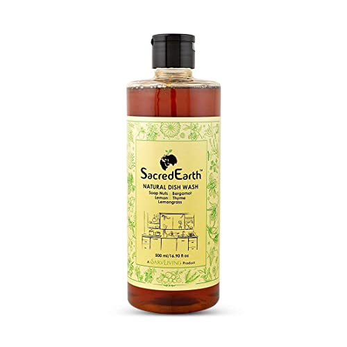 SacredEarth Natural Dish Wash Liquid - With Soap Nuts,Lemon,Lemongrass, Thyme And Bergamot - 500ml