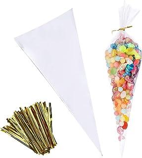 Enenes Lot de 100 sachets de bonbons transparents en OPP avec ruban torsadé doré pour bonbons, pâtisseries, chocolats, mar...