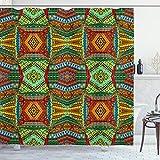 ABAKUHAUS Africano Cortina de Baño, Los Motivos nativos, Material Resistente al Agua Durable Estampa Digital, 175 x 200 cm, Multicolor