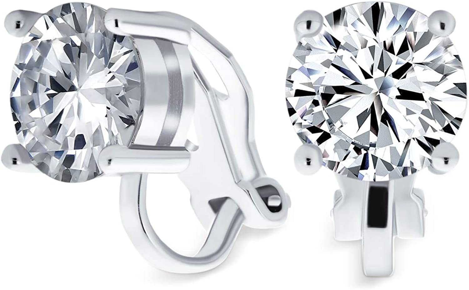 2CT Brilliant Cut Round Seattle Mall AAA CZ Recommendation Stud Earrings Solitaire Clip F On