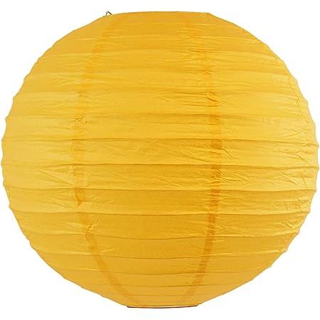 Just Artifacts 24-Inch Lemon Yellow Round Chinese Japanese Paper Lantern 1pc, Lemon Yellow