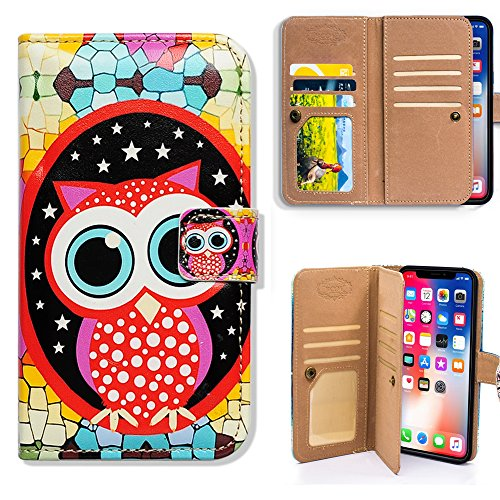 iPhone X Wallet Case,iPhone Xs Wallet Case, Bcov Colorful Cute Owl Multifunctional Flip Leather Case Wallet Folio Cover with Credit Card Slot ID Card Holder Wrist Strap for iPhone Xs X
