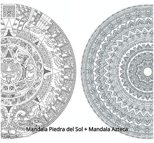 PACK 2 MANDALAS PARA COLOREAR GIGANTES: Mandala Piedra del Sol + Mandala Azteca. Pósters de gran tamaño para pintar y decorar. Cartulinas gruesas de 50 x 70 CMS.