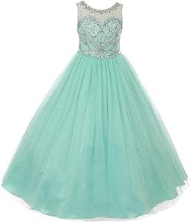 Big Girls Mint Crystal Beading Glitter Tulle Floor Length Pageant Dress 8-16