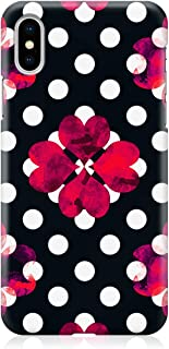 Loud Universe Case for iPhone XS Wrap around Edges Valentines Day Couples Love Black Red Heart Pattern Sleek Design Heavy ...