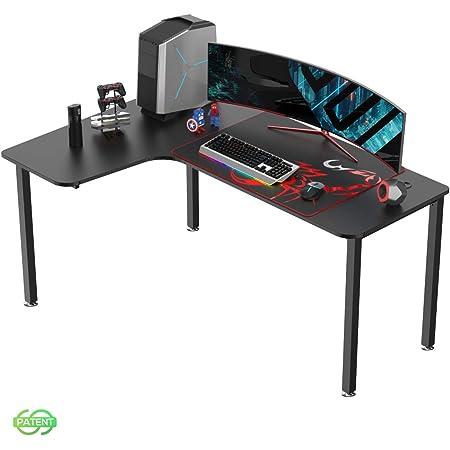 EUREKA ERGONOMIC Bureau Gaming L60 Bureau Gamer Bureau pour Gaming PC Informatique Forme L Table Desk Noir 152*70 cm