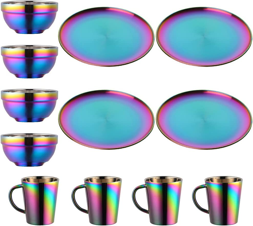 Finally popular brand Plate and New Shipping Free Bowl Sets Stainless Steel Dishes K Rainbow Mugs Bowls